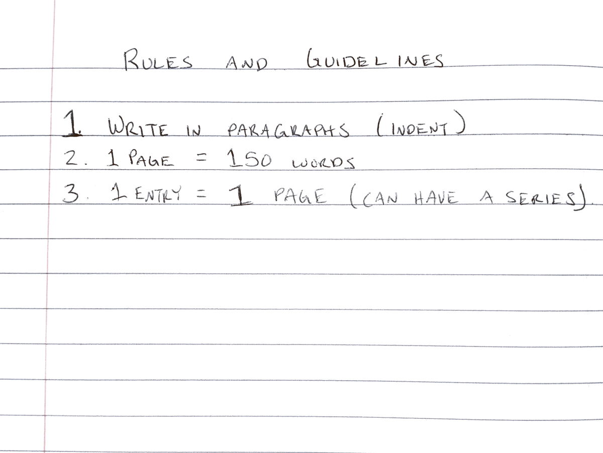 3 Rules and Guidelines for the Writer's Notebook