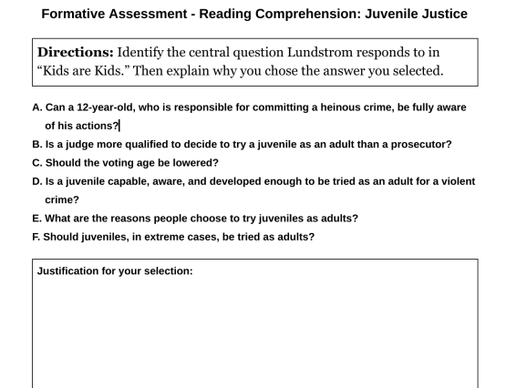 Kids are Kids formative assessment