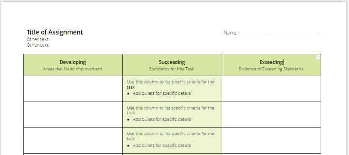 Single-Point Rubric Template