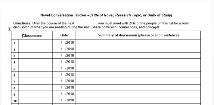 Novel Conversation Tracker Template Pic